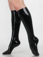 Latex-Kniestrümpfe, schwarz