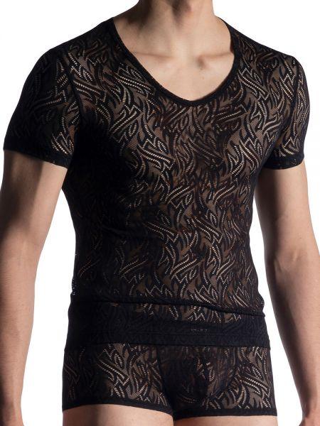 MANSTORE M914: V-Neck-Shirt, schwarz