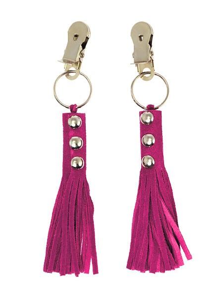 Nippelklemmen mit Velourlederfransen, pink