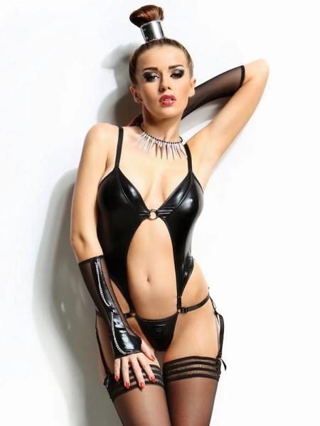 Demoniq Wetlook-Netz-Body: Nadine, schwarz