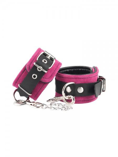 Velourleder-Fußfesseln, pink