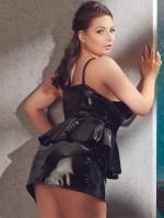 Lack-Minikleid mit Schößchen, schwarz