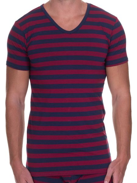 Bruno Banani Sailor: V-Neck-Shirt, bordeaux/navy