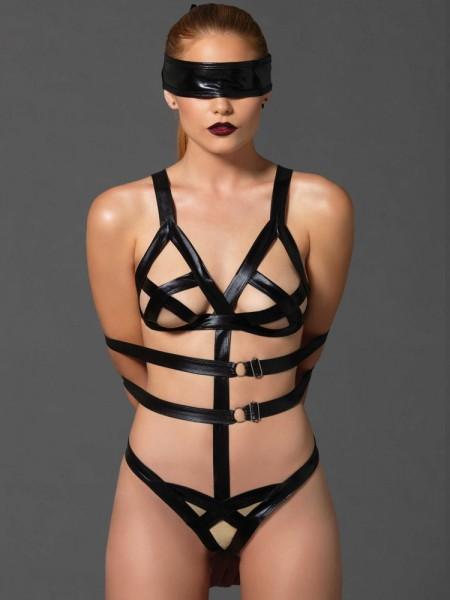 KINK: Wetlook Riemen-Body mit Augenbinde, schwarz