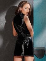 Lack-Minikleid mit Zip, schwarz