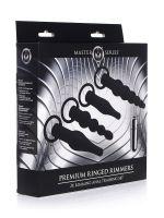 Master Series Premium Ringed Rimmers: Vibro-Analplug-Set, schwarz