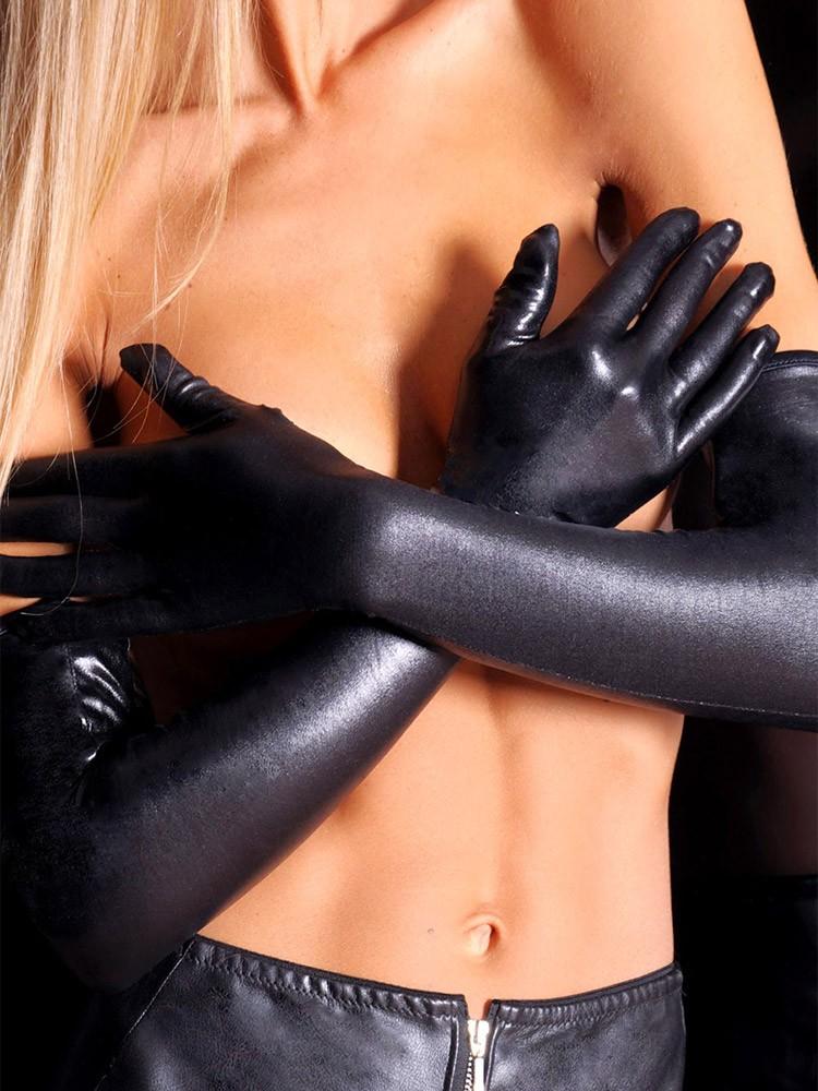 7-Heaven Wetlook-Handschuhe, schwarz