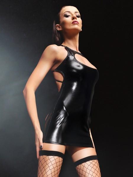 Demoniq Wetlook-Kleid: Ursel, schwarz