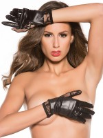 Kitten: Wetlook-Spitzen-Handschuhe, schwarz