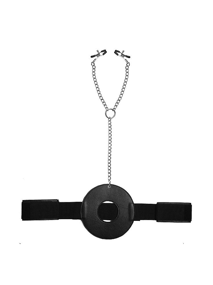 Master Series Detained Restraint System: Strap-On mit Nippelklemmen