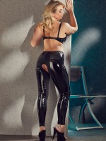Lack-Ouvertleggings, schwarz