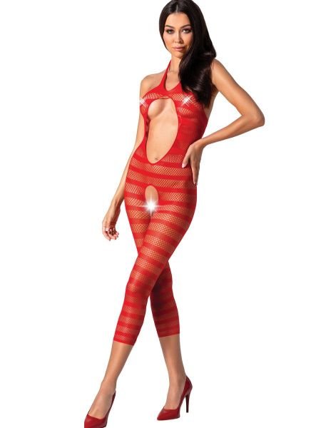 Passion BS081: Ouvert-Catsuit, rot