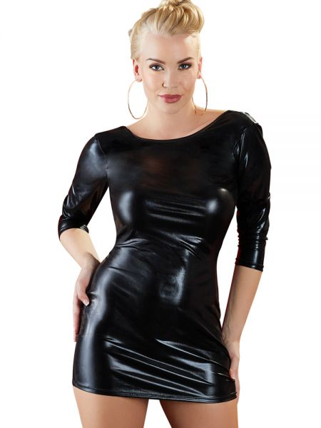 Wetlook-Minikleid, schwarz