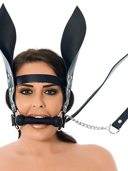 Silikon-Trense mit Lederzügeln und Ohren, schwarz