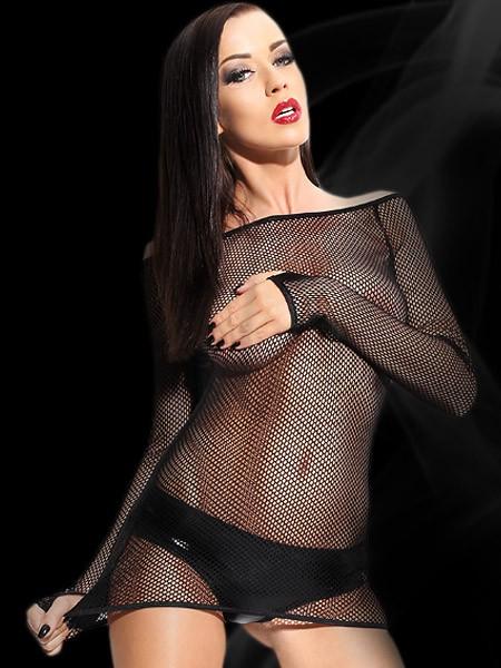 Demoniq Netz-Minikleid mit Wetlook-Panty, schwarz