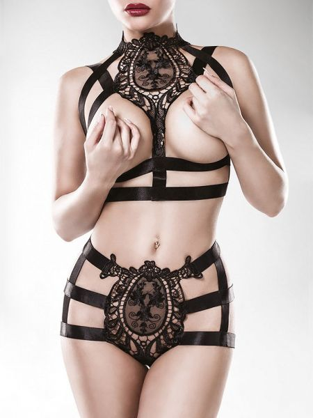 Grey Velvet 15125: Ouvert-Harness-Set 2-teilig, schwarz