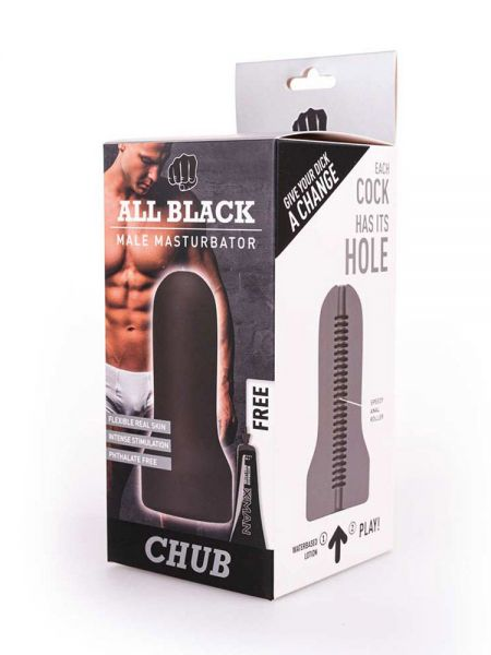 All Black Real Skin Touch Chub: Masturbator, schwarz