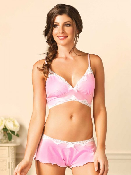 Leg Avenue: Bralette-Set, rosa/weiß
