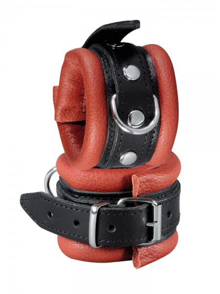 XxdreamSToys: Leder-Handfesseln, rot/schwarz