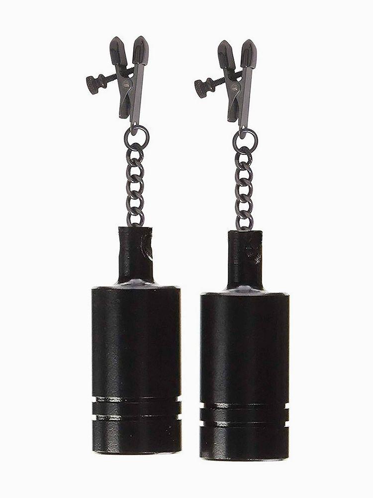 Black Label Coated Metal Tingling Nipple Clamps: Nippelklemmen mit Gewichten,...