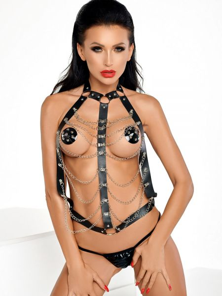 MeSeduce Chance Top: Riemen- und Ketten-Harness, schwarz