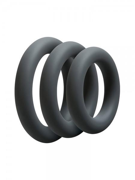 OptiMale 3 C-Ring Set Thick: Penisringe-Set, anthrazit