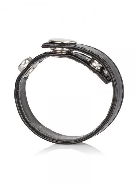 Leather 3-Snap Ring: Penisring, schwarz