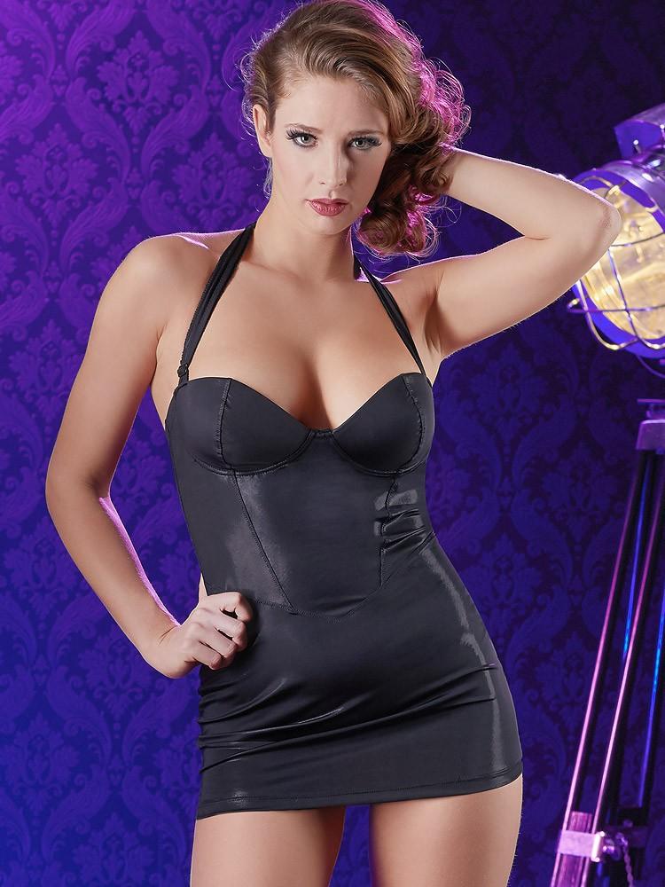 Neckholder-Kleid, schwarz