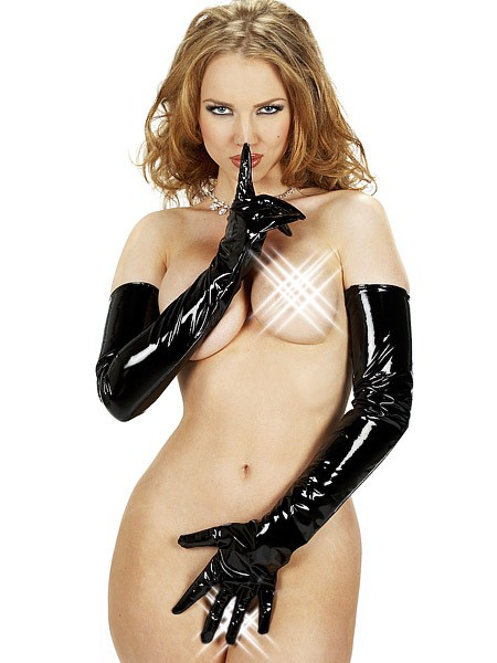 Lack-Handschuhe lang, schwarz