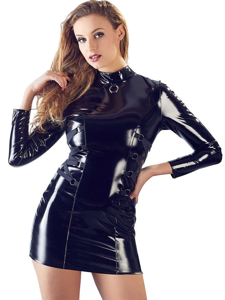 Lack-Minikleid, schwarz (XL)