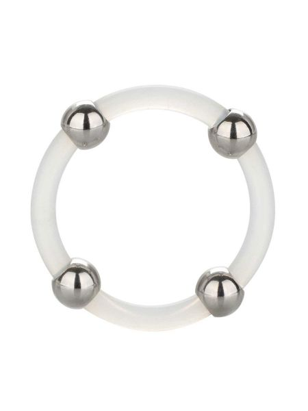 Steel Beaded Silicone Ring Large: Penisring, transparent