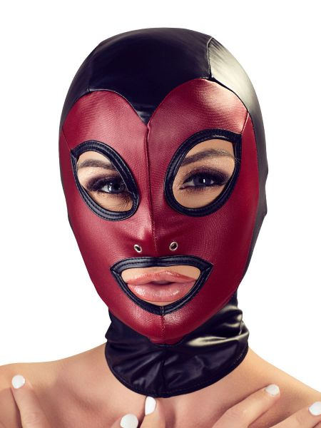 Bad Kitty: Kopfmaske Mattlook, schwarz/rot