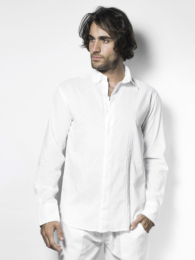L´Homme Invisible Tudor: Loungeshirt, weiß