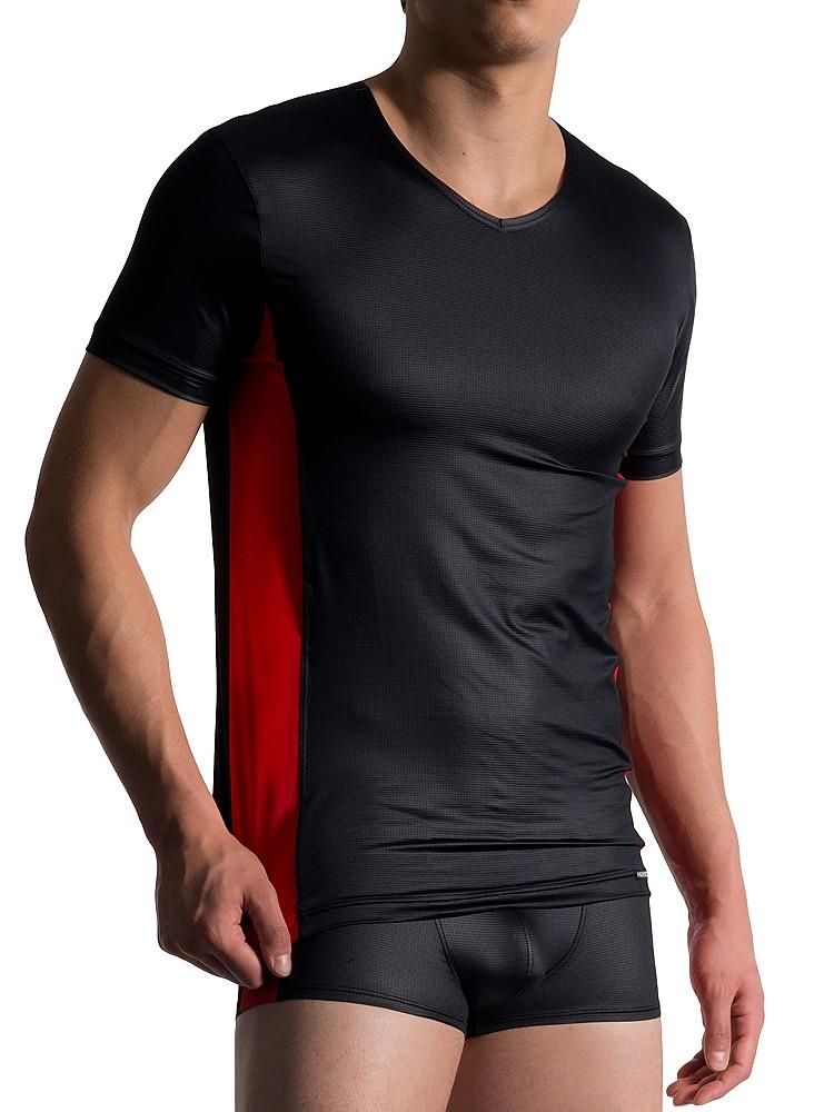 MANSTORE M758: V-Neck-Shirt, schwarz/rot