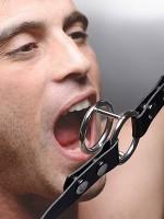 Strict Deep Throat Gag: Edelstahl Ringknebel, schwarz