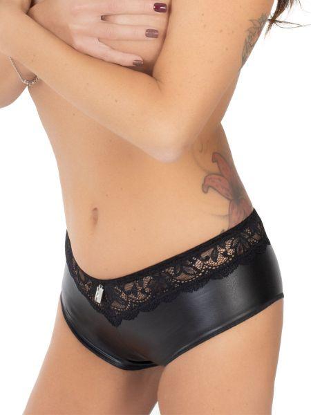 Eros Veneziani Raffaela: Kunstleder-Spitze-Minipanty, schwarz