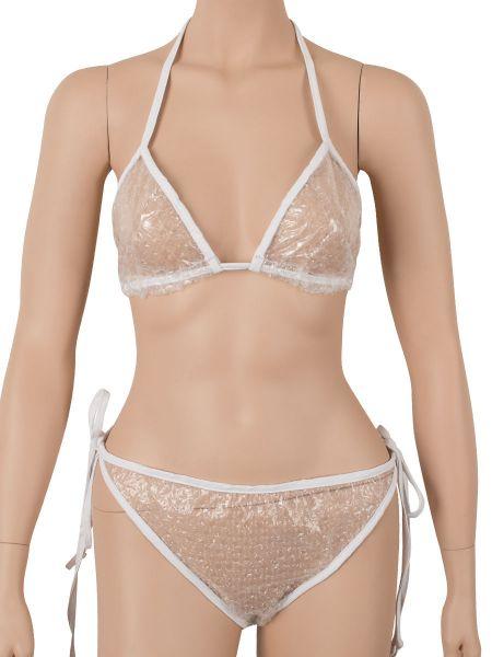 Luftpolster-Bikini, transparent/weiß