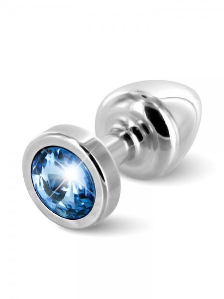 Diogol Buttplug Anni Round: Analplug (25mm), silber/blau