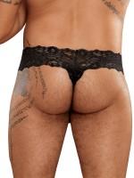 Male Power Scandal Lace: Micro String Pinch Back, schwarz
