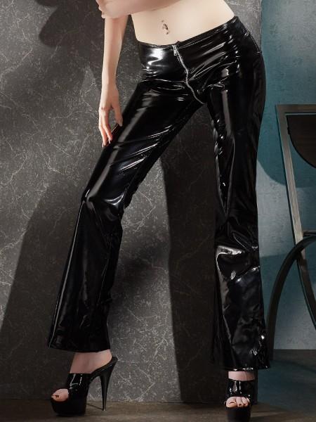 Lack-Hose mit Zip, schwarz