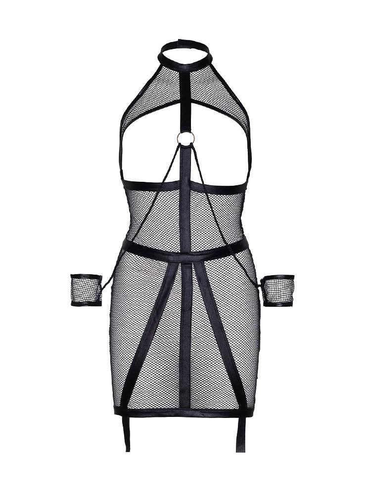 KINK: Wetlook-Netz-Ouvertstrapskleid mit Fesseln, schwarz