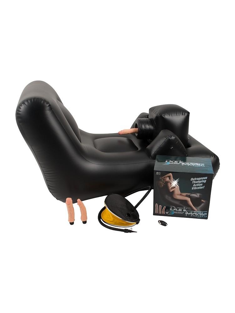 You2Toys Dark Magic Thrusting Bed: Liebeskissen mit Vibrator, schwarz/haut