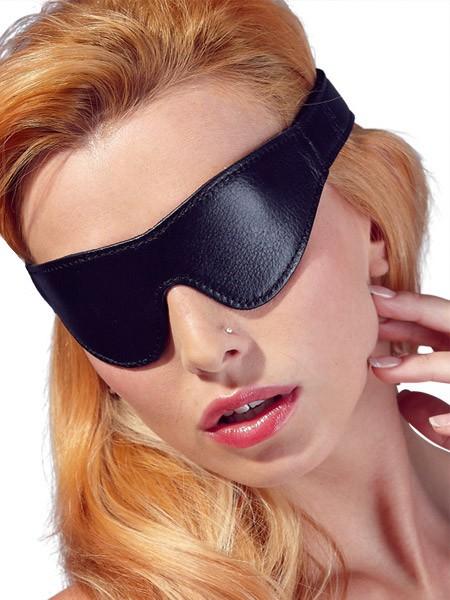 Kunstleder-Augenmaske, schwarz