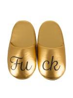 Fuck Puschen: Hausschuhe, gold