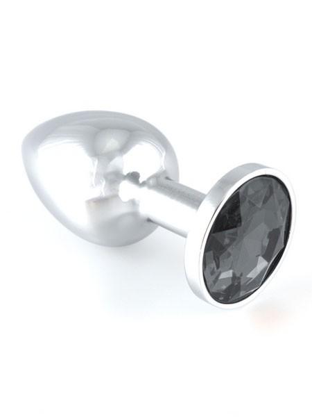 Edelstahl-Buttplug mit schwarzem Kristall (140g)