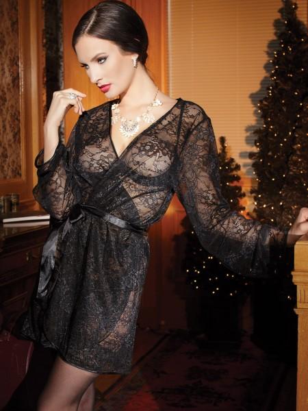 Coquette Spitzen-Kimono: Black Passion, schwarz
