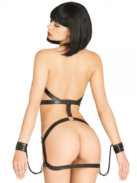 KINK: Wetlook-Riemen-Minikleid mit Fesseln, schwarz
