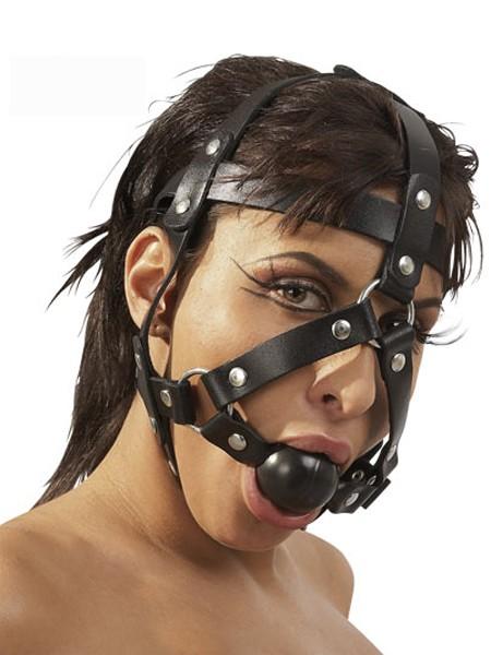 Leder-Kopfgeschirr mit Ballknebel, schwarz