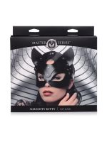 Master Series Naughty Kitty: Leder-Kopfmaske, schwarz