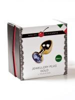 Dolce Piccante Jewellery Small: Edelstahl-Analplug, gold/blau